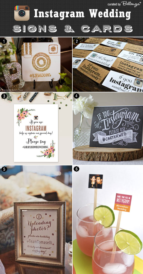Creative Instagram Signs and Cards for Your Wedding Day as featured on Bellenza #instagramweddingsigns!