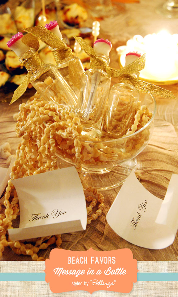 Mesasge in a bottle as beach-inspired favors. Styled shoot by Bellenza. #beachfavors #beachweddings