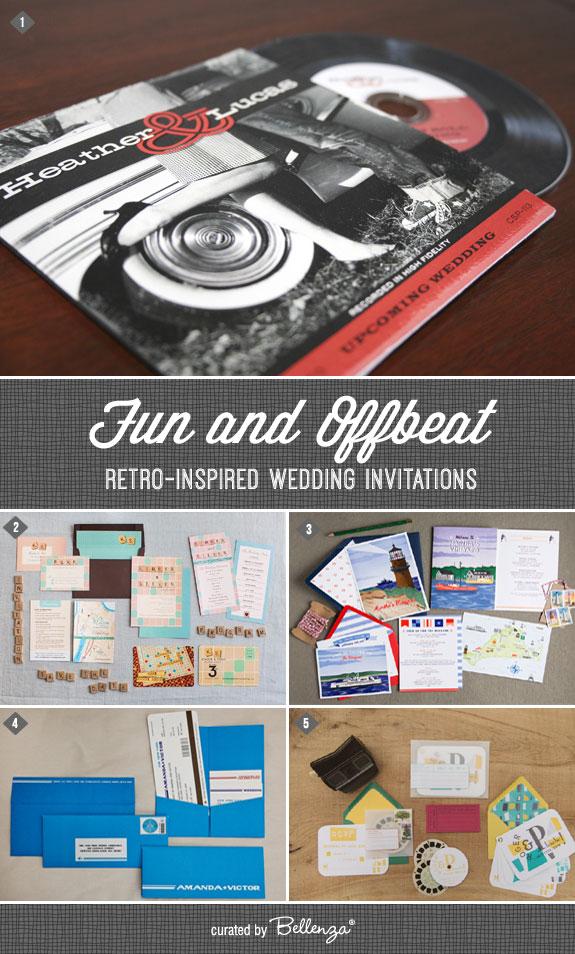 Creative Retro-inspired Wedding Invitation Finds! #retroweddings #retroweddinginvitations