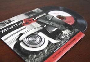 Vinyl-inspired invites by Ackley Design