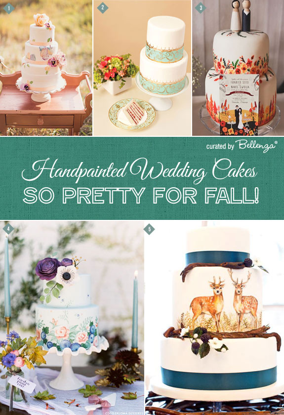 Handpainted Wedding Cakes for Fall as Featured on the Wedding Bistro at Bellenza. #handpaintedweddingcakes