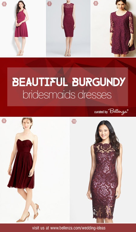 Beautiful Burgundy Bridesmaids' Dresses From Classic to Contemporary Styles as featured on Bellenza. #burgundybridesmaidsdresses