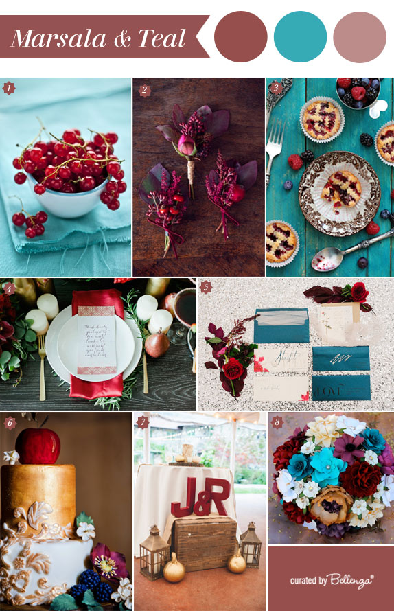 Marsala and Teal-Fall Wedding Palette Inspiration with Touches of Gold!