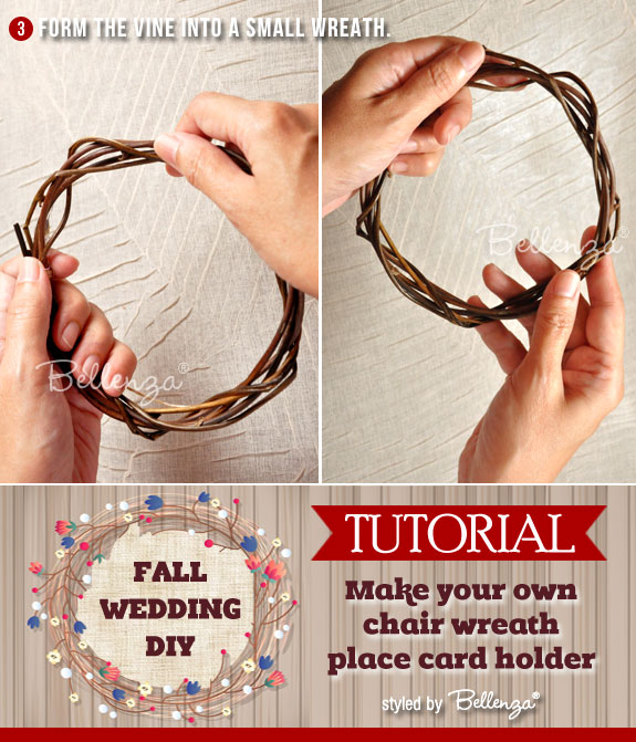 Create a small wreath from the small vines.