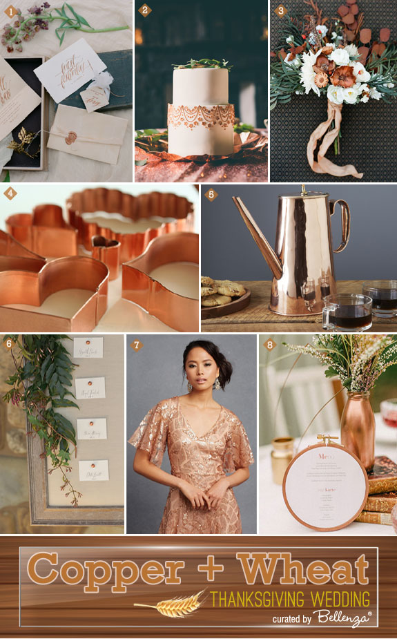 Copper and Wheat Thanksgiving Wedding Inspiration Board of Ideas from the Wedding Bistro at Bellenza.