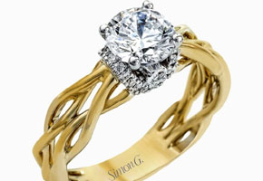 Gold engagement ring. Photo by Simon G Jewelry