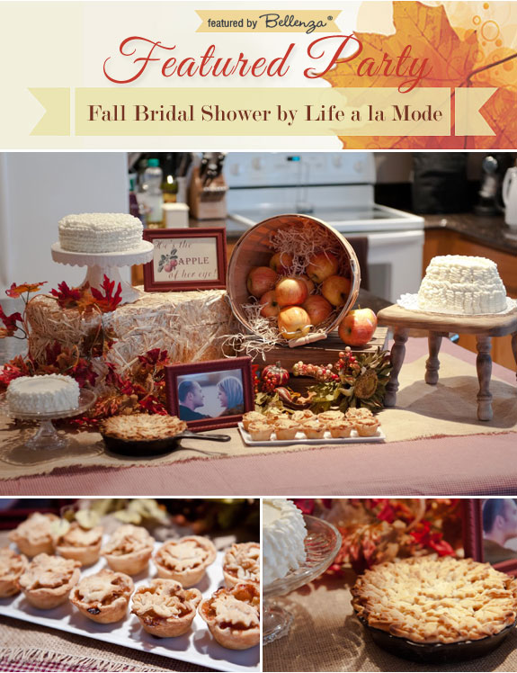 fall bridal shower dessert table with apple pies and ruffle cakes