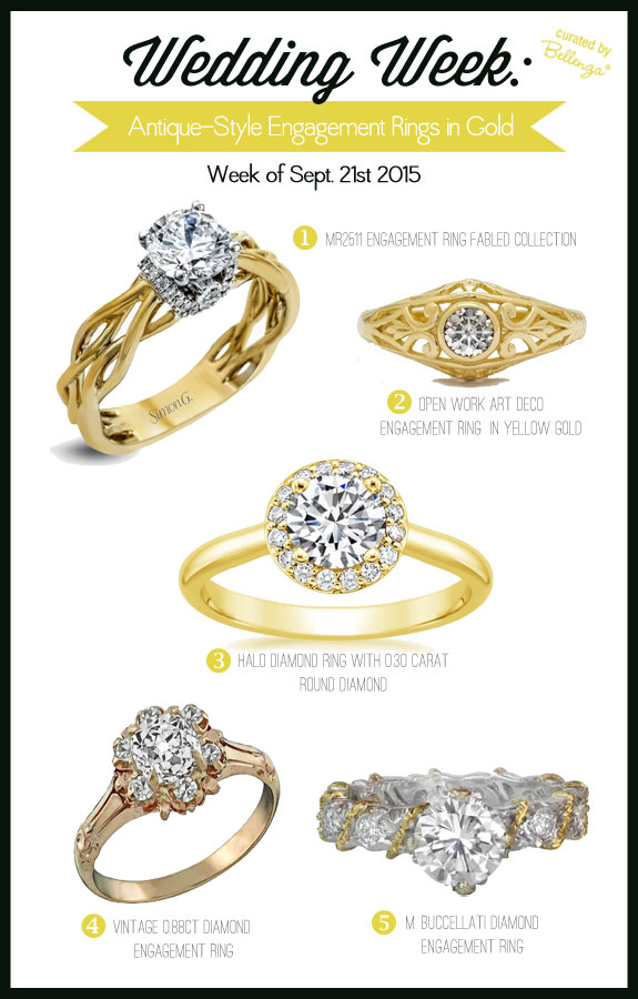 Vintage Style Engagement Rings. So Glamorous in Gold