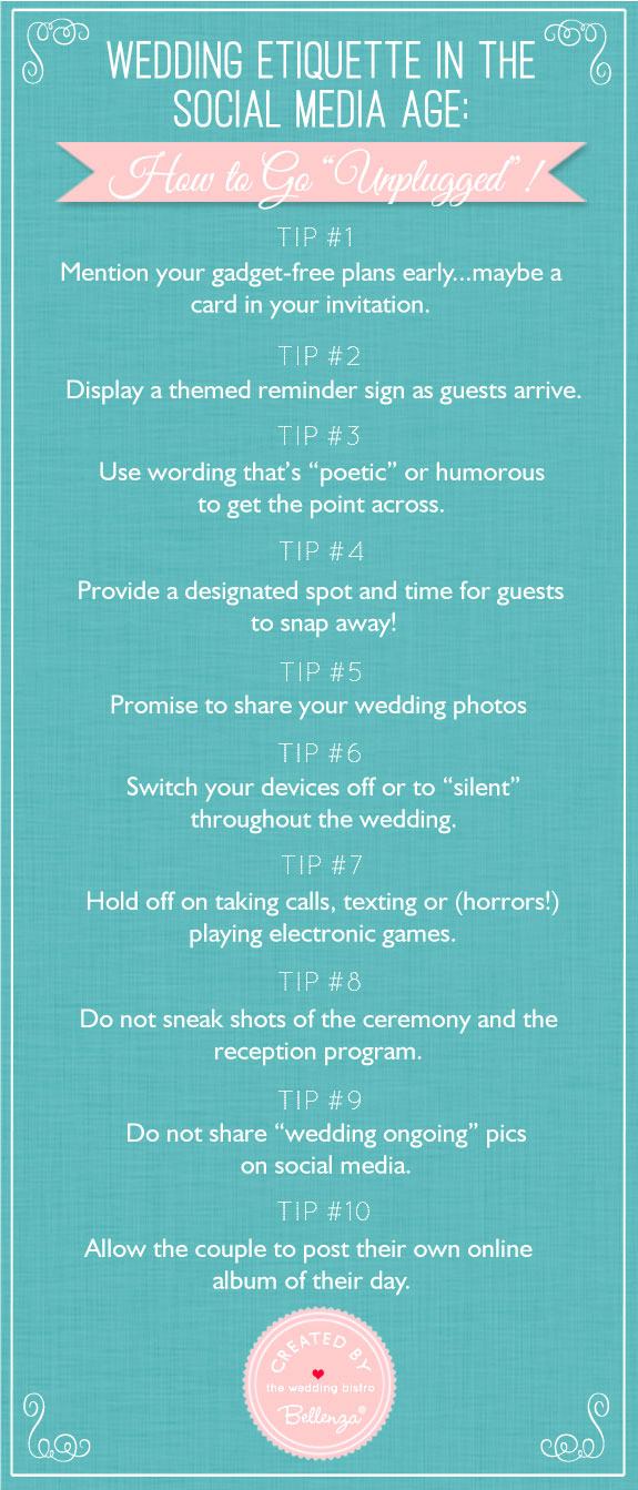 Wedding etiquette in the social media age how to go unplugged tips for how to have a gadget free wedding wedding etiquette in the age junglespirit Image collections