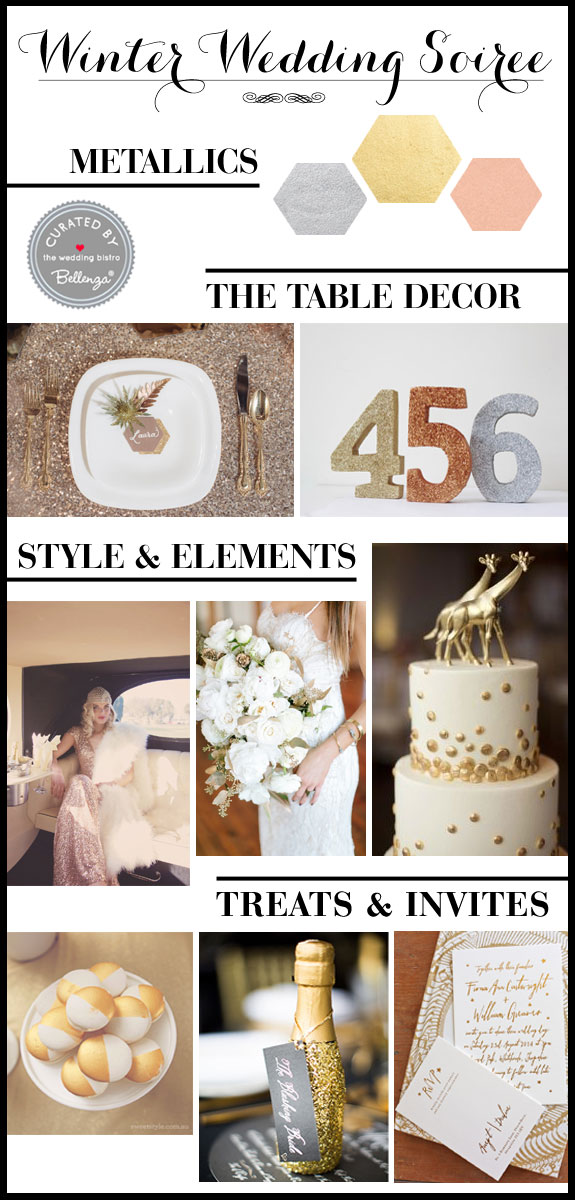 Gold, Silver, and Copper in An Urban-Vintage Wedding Palette