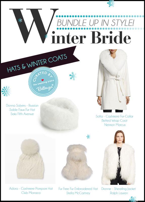 A Curated Collection of Winter Bridal Accessories for Winter Hats and Coats at the Wedding Bistro at Bellenza
