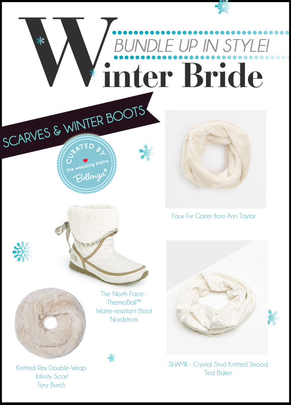 A Curated Collection of Winter Bridal Accessories for Scarves and Winter Boots at the Wedding Bistro at Bellenza