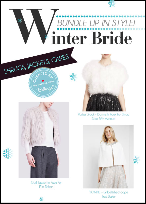 A Curated Collection of Winter Bridal Accessories for Shrugs, Jackets, and Capes at the Wedding Bistro at Bellenza