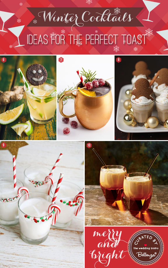 Winter wedding cocktail ideas with holiday flavors in mind