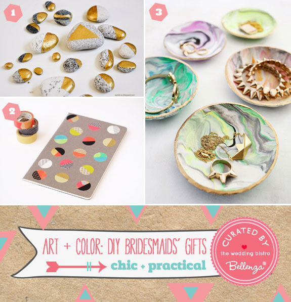 DIYable Bridesmaids Gifts With Art and Color in Mind as featured on the Wedding Bistro at Bellenza.