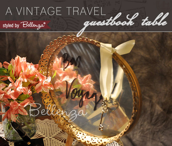 A Wedding Wish Guest Book Table for a Vintage Travel Theme | The Wedding Bistro at Bellenza.