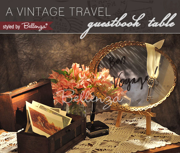 Vintage vignette—a mini trunk filled with romantic Victorian postcards for guests.