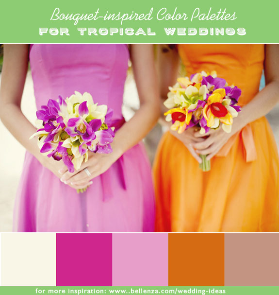 Creamy white, fuchsia, pink, orange and taupe wedding palette for a tropical summer wedding.
