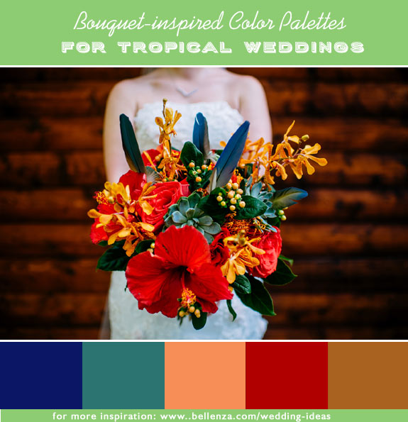 Indigo, succulent green, salmon, red orange, and rust. 10 color palettes for a tropical summer wedding.