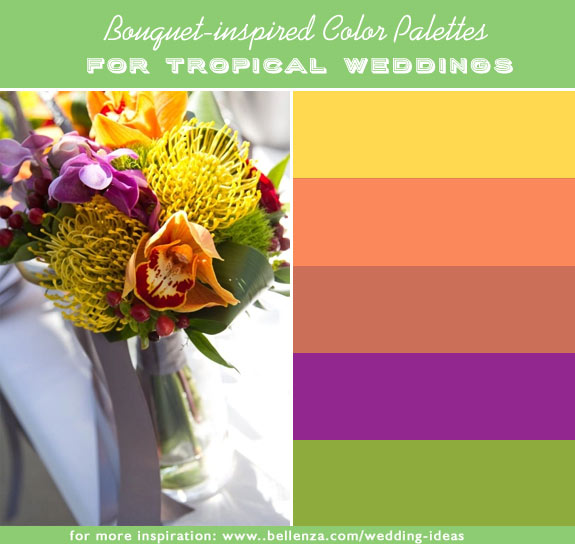 10 tropical wedding colors inspired by bouquets. Mango, salmon, dusty orange, purple, and olive