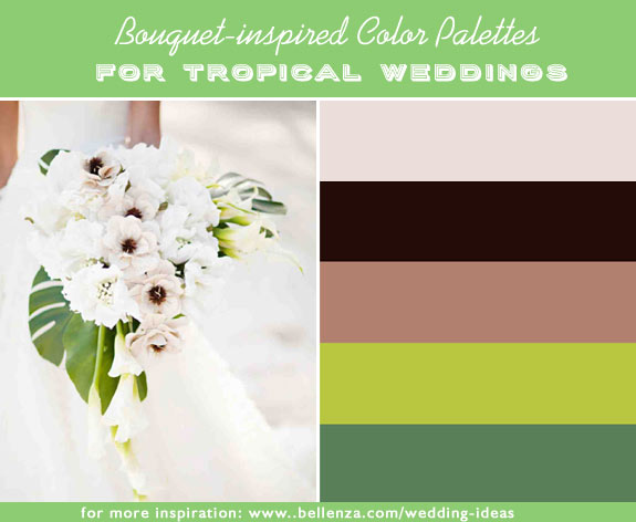 Pale blush pink, black, mocha, lime green and leafy green for tropical weddings inspired by bright bouquets.