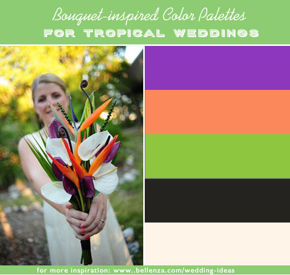 Purple, orange, lime green, black and creamy white. 10 photo-inspired color palettes from bouquets.