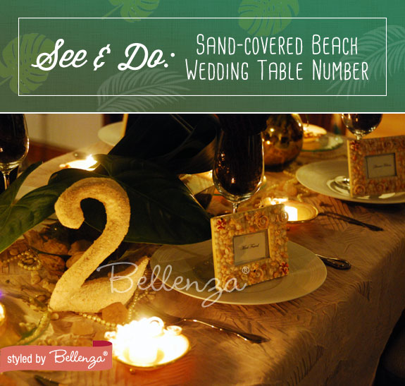 Sand and seashell tablescape for a tropical-inspired wedding in brown and green hues