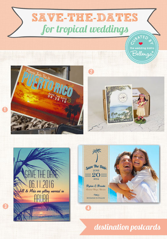 Tropical beach destination wedding save-the-dates