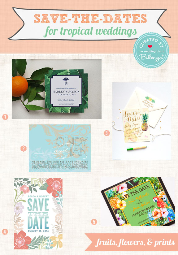 Tropical wedding save-the-dates that are creative and colorful