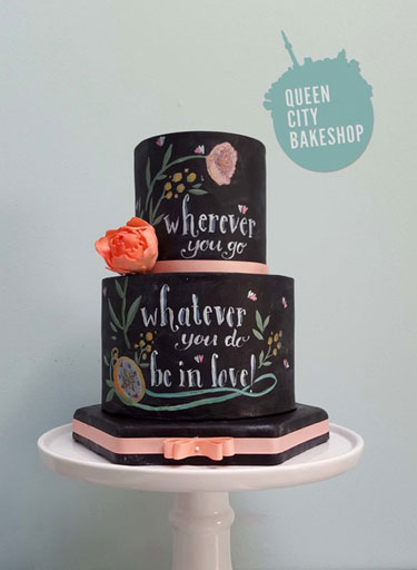 Chalkboard Wedding Cake from Queen City Bakeshop.