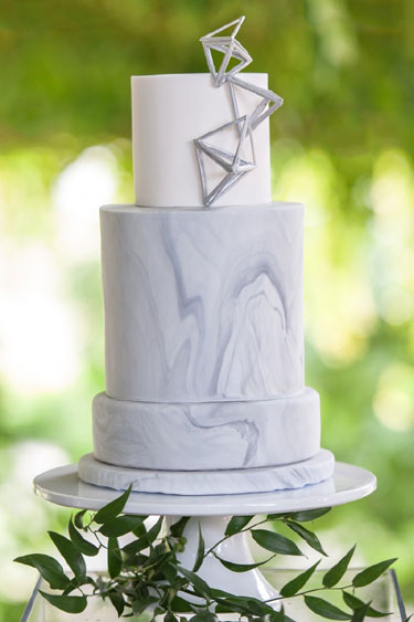 Marbled Wedding Cake with Geometric Accents | as seen on Alicia Keats with Cakes by Nicole.