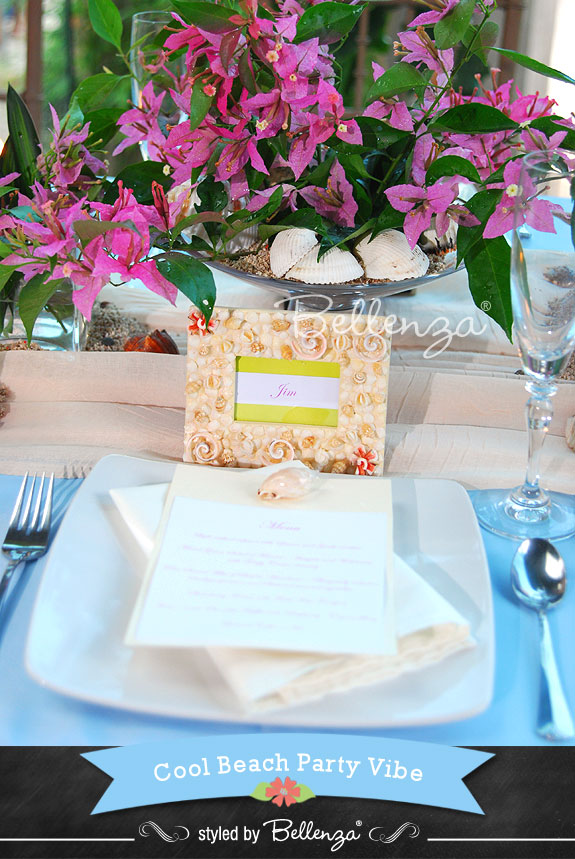 Menu Card in a Seashell Picture Frame - The Bellenza Wedding Blog