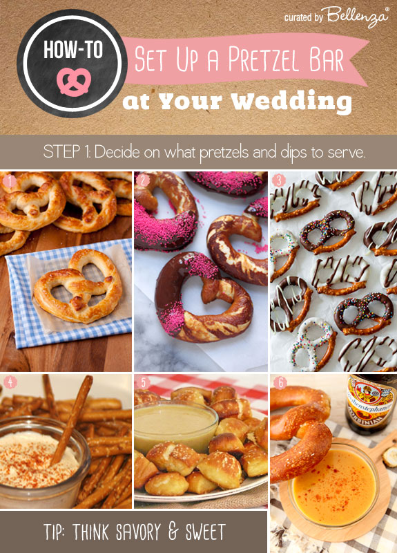 Decide on what pretzels and dips to serve for how to set up your own pretzel bar.