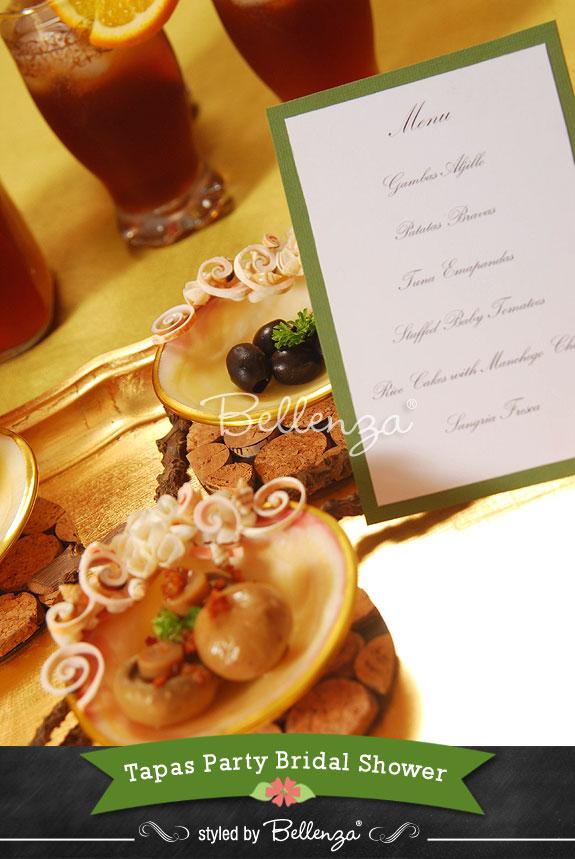Tapas Party Menu Card Example - The Bellenza Wedding Blog