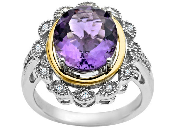 4 3/8 ct Vintage Amethyst Ring with Diamonds in Sterling Silver and 14K Gold from Jewelry.com
