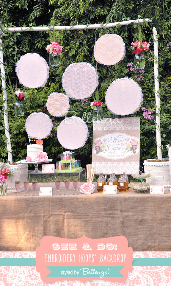 Craft a Wedding Dessert Table Backdrop with Embroidery Hoops!