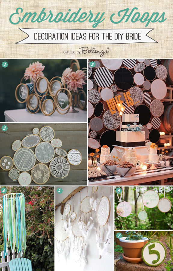 Embroidery hoop decorations for the diy bride rustic boho wedding decorations you can make with embroidery hoops junglespirit Image collections