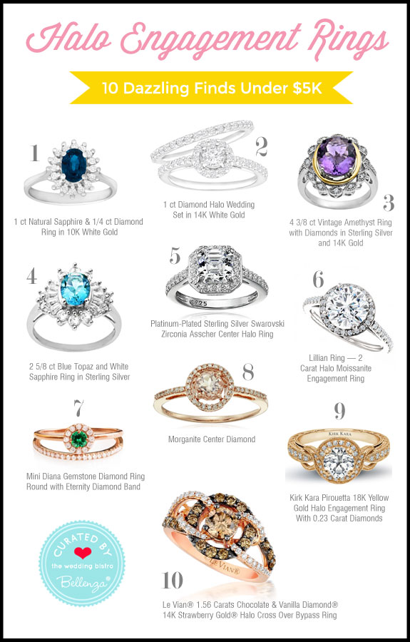 Halo engagement rings under $5K