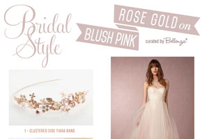 Rose gold bridal outfit with blush pink