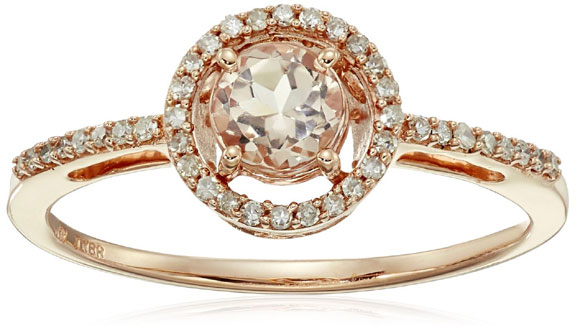 Morganite with Center Diamond Rose Gold Ring