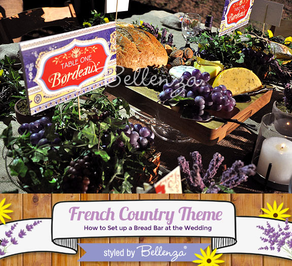 Serve French appetizers // French Country Theme Bread Bar