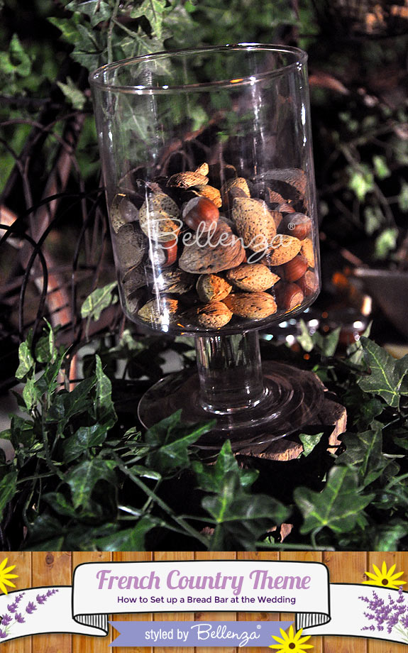 Offer guests a mix of nuts from walnuts to almonds to chestnuts presented in country-style containers