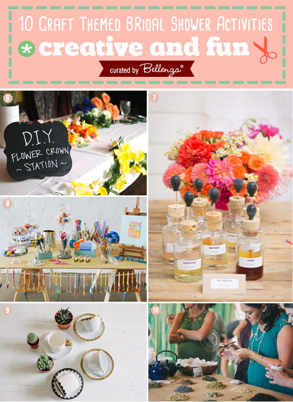 bridal shower activities from making floral crowns to painting to ceramics curated by the