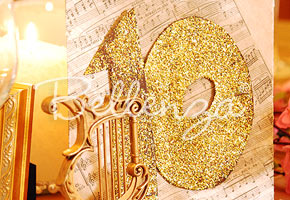 Gold glitter table number by Bellenza