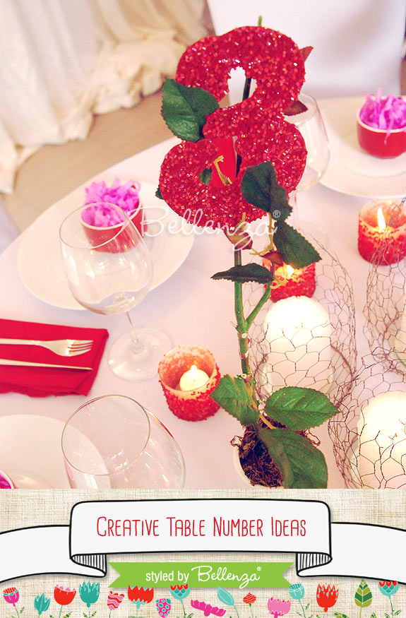 Glitter red table number