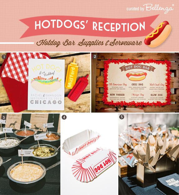Hotdog wedding supplies and invitations // curated by Bellenza.
