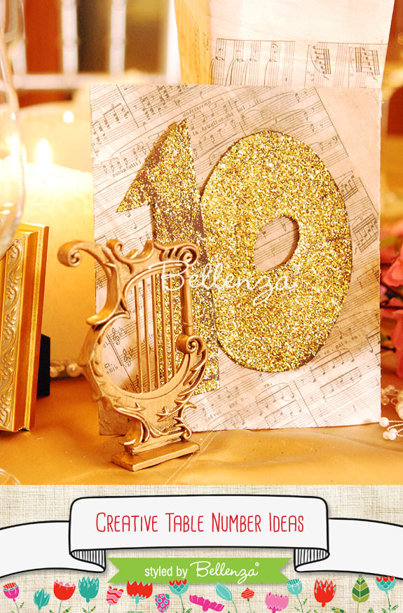 Music number in gold glitter