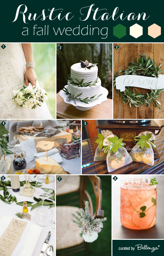 Italian-inspired Fall Wedding with Rustic Touches in Green