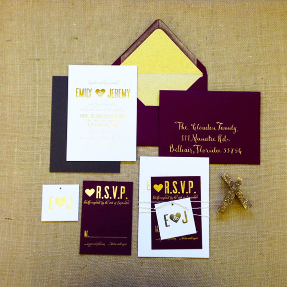 AP Design Co. white and burgundy cards and envelopes