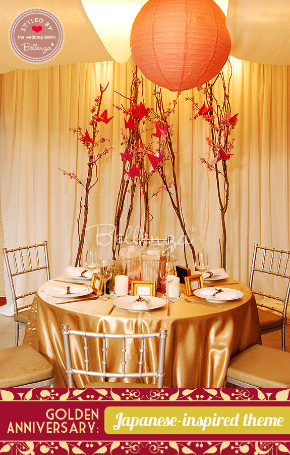 Mark your golden wedding anniversary with a madame butterfly theme decorating for a golden wedding anniversary with japanese accents junglespirit Choice Image